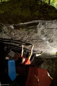 "Matt Paden on ""Billy Budd""(V4). Photo by Dan Brayack."